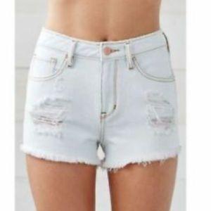 Bullhead Denim Co High Waisted Shorts Distressed